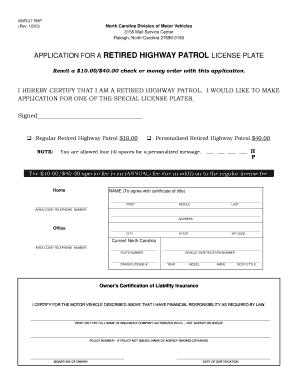 Nc Retired Highway Patrol License Plate - Fill Online