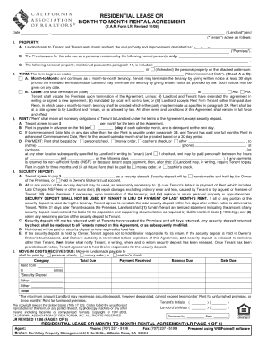california residential lease or month to month rental agreement form fillable pdf