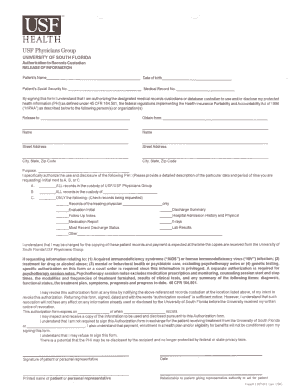 usf health authorization to the records custodian for the release of medical records form