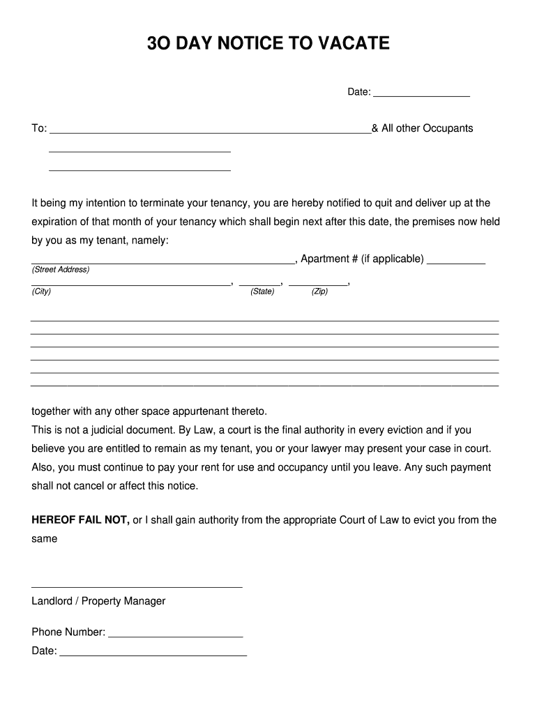 It's just an image of Current Free Printable 30 Day Eviction Notice Template