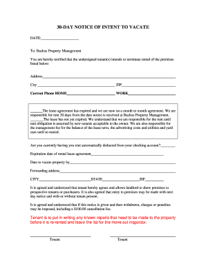 18 Printable 30 Day Notice Intent To Vacate Forms And