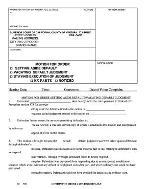 Motion Set Aside Default Judgment - Fill Online, Printable ...