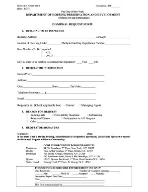 Hpd Dismissal Request Form - Fill Online, Printable, Fillable ...