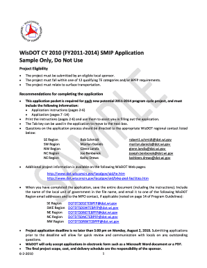 SMIP Sample Application - Wisconsin Department of Transportation ... - dot wisconsin