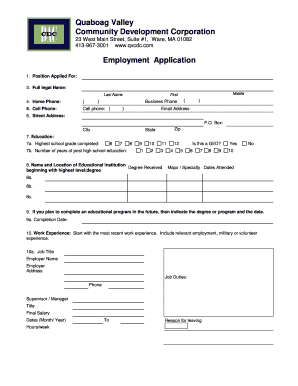 Sample fillable job application form