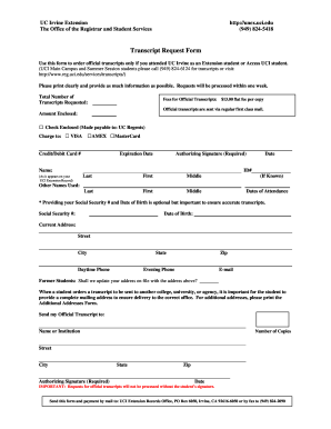 Uci Extension Unofficial Transcript Request Form - Fill Online ...