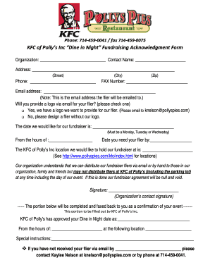 graphic relating to Kfc Printable Application named Flyers For Dine Within just Fundraiser At Kfc - Fill On line