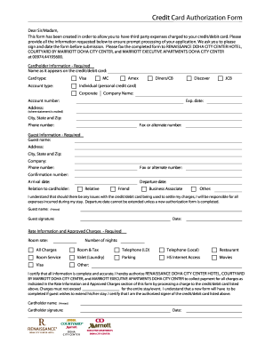 Credit Card Authorization Form - Fill Online, Printable, Fillable ...