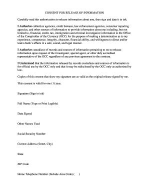 Occ Form Concent - Fill Online, Printable, Fillable, Blank | PDFfiller