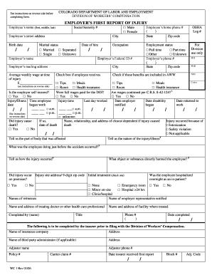 Fillable Online First Report of Injury Form - CenterPoint ...