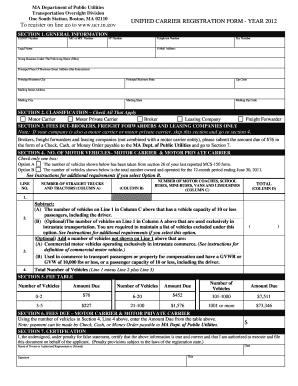 Fillable Online mass UNIFIED CARRIER REGISTRATION FORM - YEAR ...