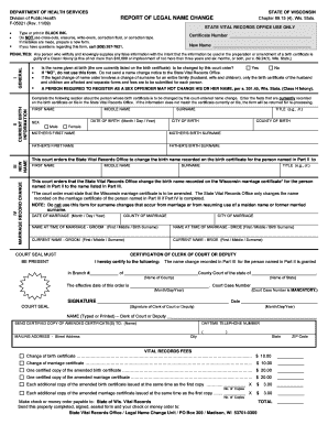 Report Of Legal Name Change Wisconsin - Fill Online, Printable ...
