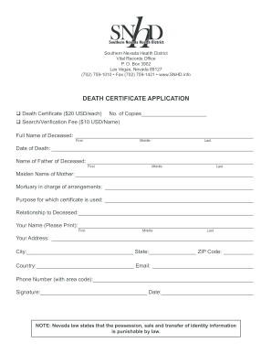 death certificate ohio form