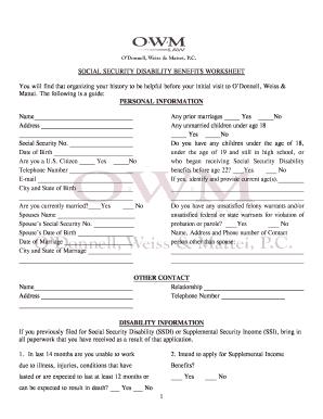 Social Security Benefits Worksheet Fillable - Worksheets