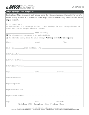 Mva form vr 197 fill online printable fillable blank for Maryland motor vehicle bill of sale form