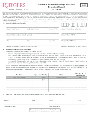 rutgers number in household and college worksheet form