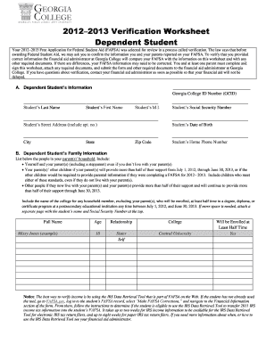 2012 2013 dependent verification form for georgia college fill online printable fillable. Black Bedroom Furniture Sets. Home Design Ideas
