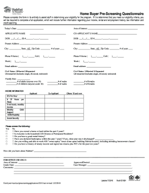 Buyer Pre Screening Form - Fill Online, Printable, Fillable, Blank ...