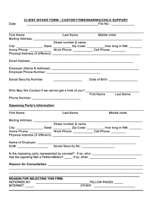 Child Custody Intake Form - Fill Online, Printable, Fillable ...