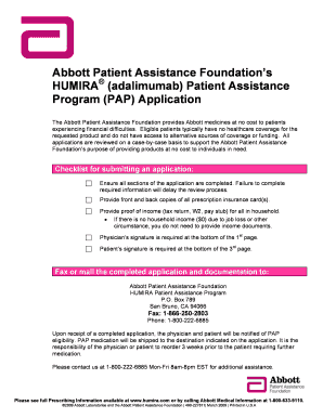 Abbott Patient Assistance Foundation Humira Fill Online Printable