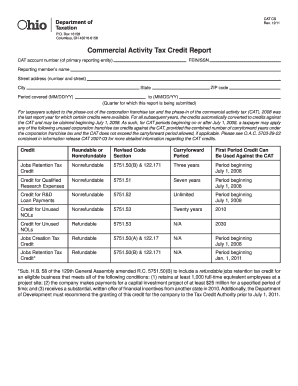 Ohio Commercial Activity Tax Credit Report - Fill Online ...