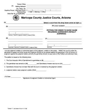 Arizona Maricopa County Court Form For Petition Order To Show ...