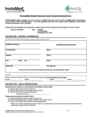 Phcs Eft Enrollment Form - Fill Online, Printable, Fillable, Blank ...