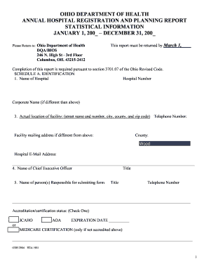 ohio department of health annual hospital registration and planning report form