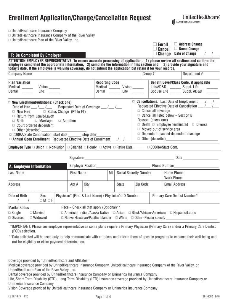 United Healthcare Enrollment Application Change Cancellation Request Form Fill Online Printable Fillable Blank Pdffiller