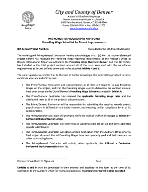 city and county of denver prevailing wage pre notice to proceed form