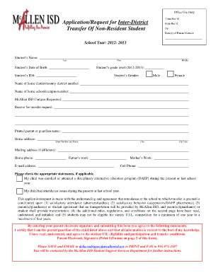 Mcallen Isd Transfer Request - Fill Online, Printable, Fillable ...