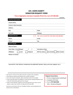 B.R. COHN CHARITY DONATION REQUEST FORM
