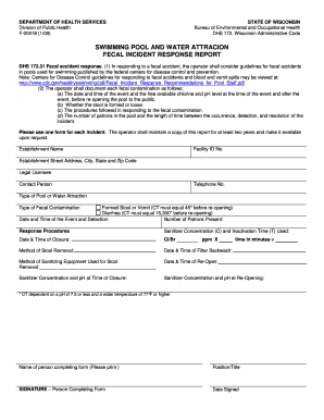 Pool Fecal Response Form Fill Online Printable