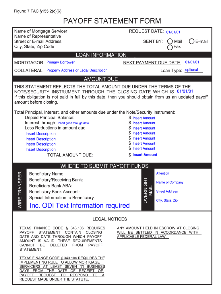 Payoff Statement Template Word Fill Online Printable