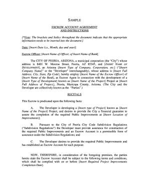 Escrow Account Agreement Sample Editable Fillable