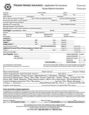 marine insurance template  Marine Insurance Form - Fill Online, Printable, Fillable, Blank ...