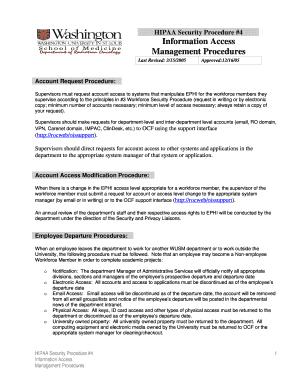 Fillable Online ocf wustl Information Access Management Procedures