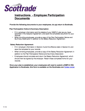 Fillable Online Employee Participation Documents Scottrade Fax