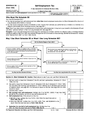 Fillable Online 2001 Form 1040 (Schedule SE) Fax Email ...