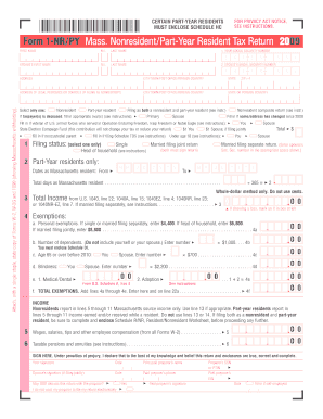 Form 1 Nrpy Mass Nonresidentpart Year Resident Tax Return 2009 ...