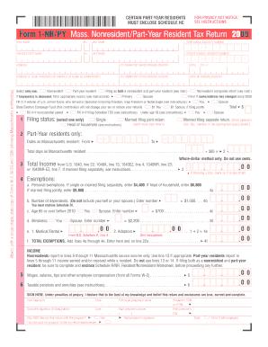 Form 1 Nrpy Mass Nonresidentpart Year Resident Tax Return 2009 ...