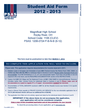 Student Aid Form 2012 - 2013 - magnificaths