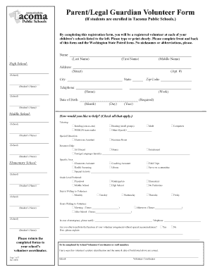 tacoma public schools volunteer application form