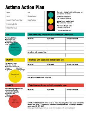 Fillable Online Aafa Asthma Action Plan Pdf Asthma And