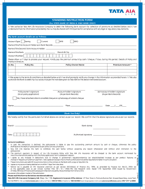 Standing Instruction Form Of Sbi - Fill Online, Printable ...
