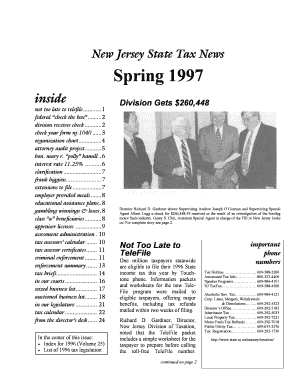 State Tax News - Spring 1997 - Vol 26 No 1 State Tax News Not Too Late to TeleFile Federal check the box Division Receives Check Check Form NJ-1040 Organization Chart Attorney Audit Project Interest Rate 1125 Clarification Frank Higgins - nj