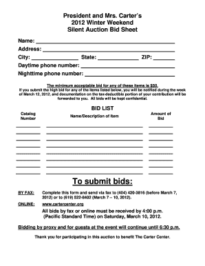 silent auction sheets printable