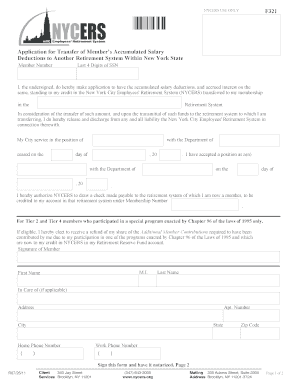 Nycers Form 321 Transfer Form - Fill Online, Printable, Fillable ...