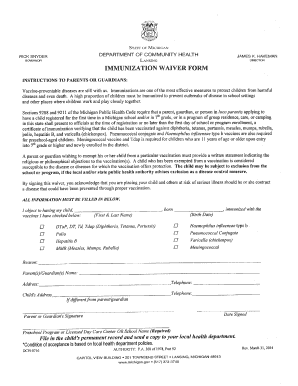 Editable Muchigan Vaccination Exemption Forms - Fill Online ...