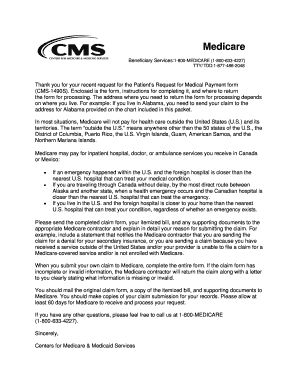 Fillable Online cms 1490S-Canada and Mexico Claim Form.doc. CMS ...